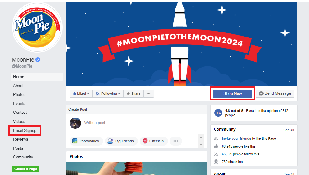 Moonpie Facebook email signup tab