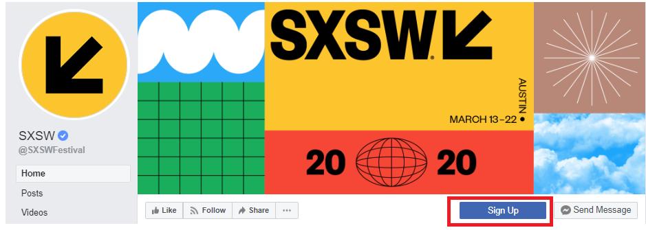 SXSW Facebook Newsletter CTA