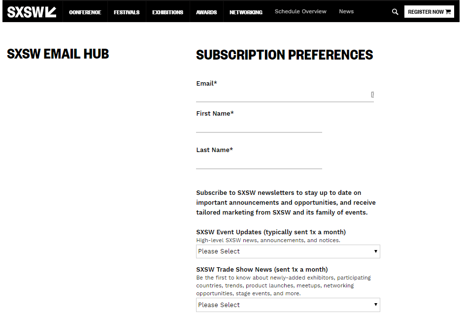 SXSW newsletter signup form