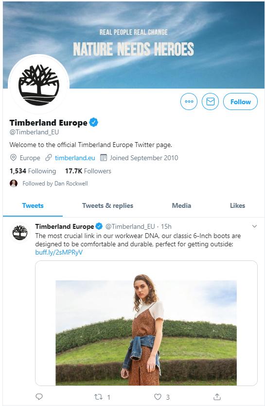 Timberland Europe Twitter profile