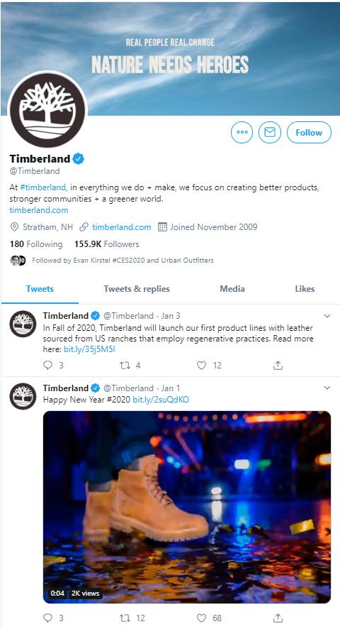 Timberland Twitter profile