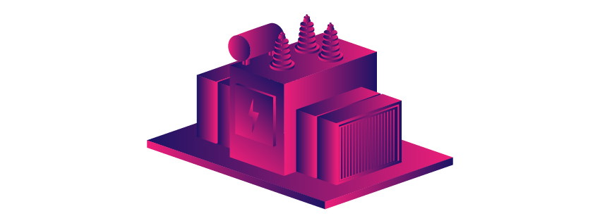 Isometric transformer icon colored with gradients.