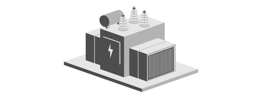 Isometric transformer icon in grayscale.