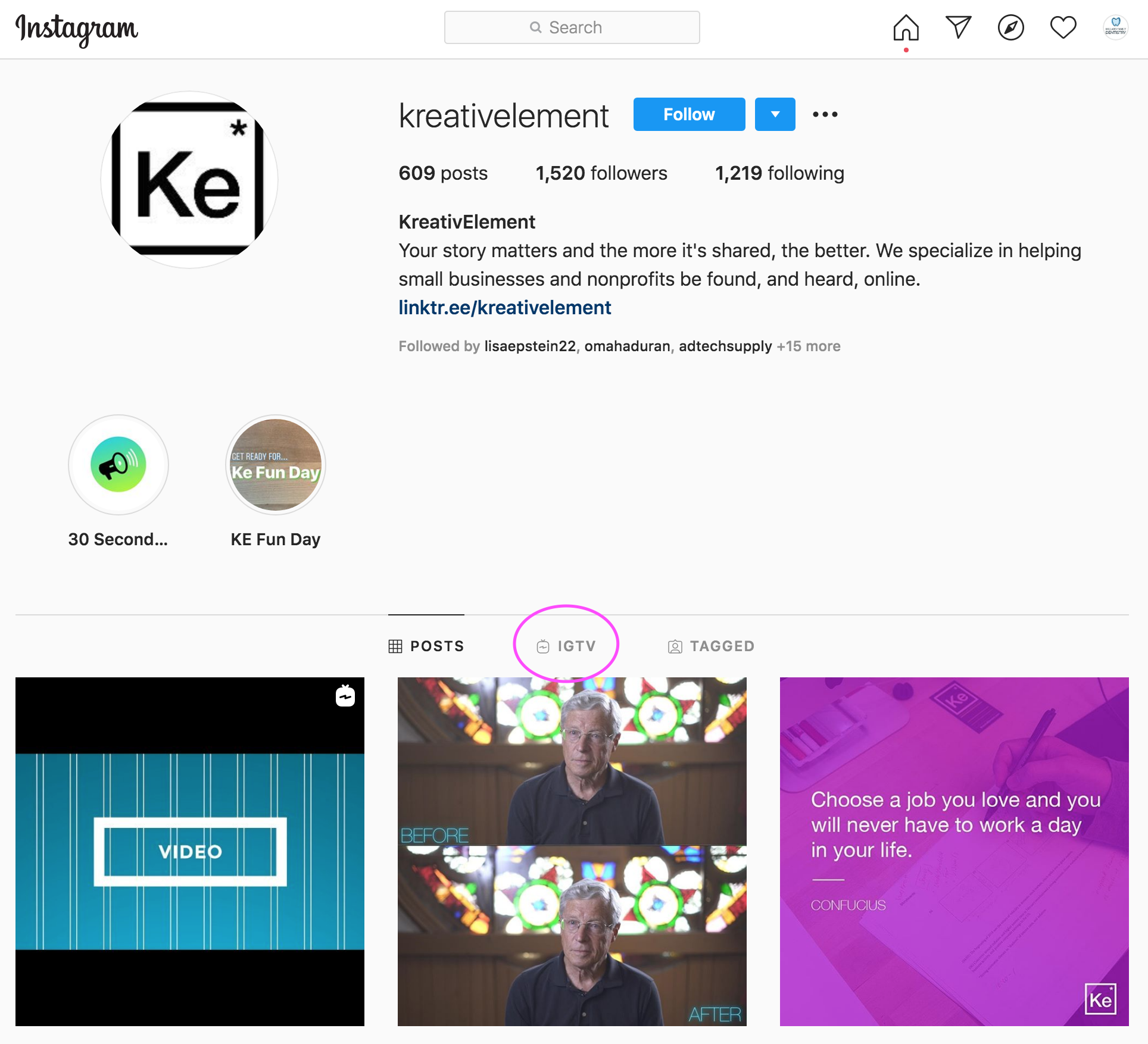 KreativElement Instagram IGTV